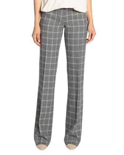 Plaid Wool Flannel Straight Leg Pants
