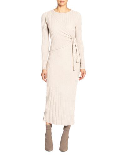 Crewneck Long-Sleeve Knit Dress w/ Side Wrap Detail