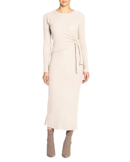 Santorelli Crewneck Long-Sleeve Knit Dress w/ Side Wrap Detail