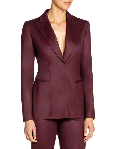 Stretch Wool Jacket with Peak Lapels