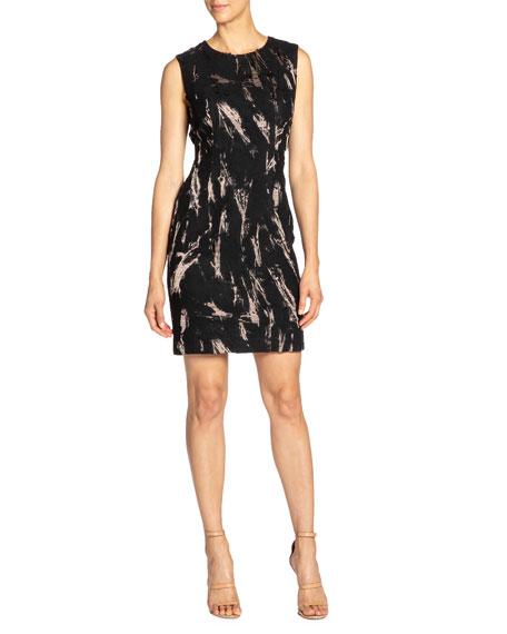 Santorelli Sleeveless Fancy Jacquard Sheath Dress