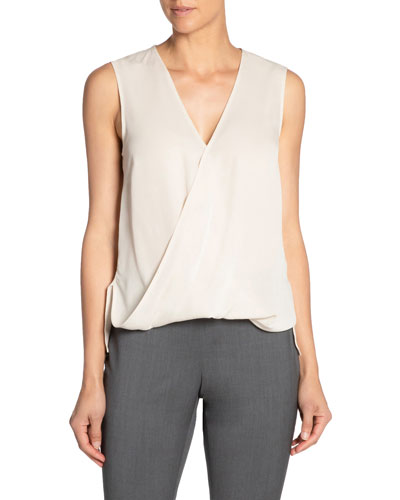 V-Neck Sleeveless Front Overlap Silk Georgette Top