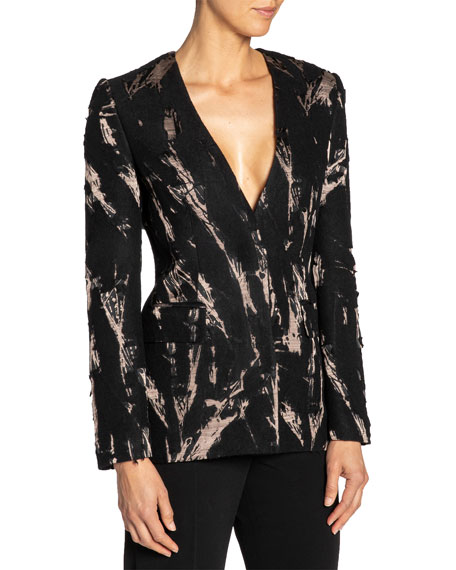 Santorelli Jacquard V-Neck Jacket w/ Hidden Button Front