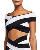 OYE Swimwear Lucette Colorblock High-Waist Double-Band Bikini