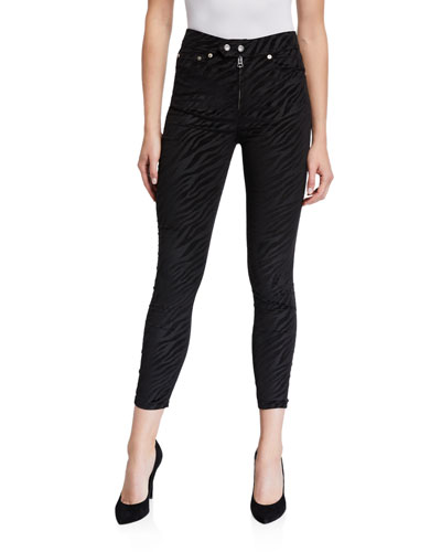 Nina High-Rise Zebra Zip-Fly Ankle Skinny Jeans