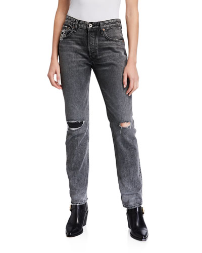 Rosa Mid-Rise Boyfriend Jeans with Ripped Knees