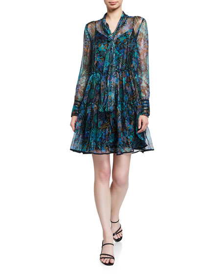 See by Chloe Printed Long-Sleeve Tie-Neck Dress