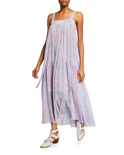 Square-Neck Sleeveless Floral Long Dress