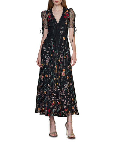 Puff-Sleeve Embroidered Midi Dress