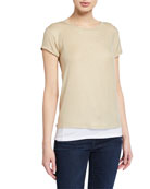 Majestic Filatures Metallic Double Layer Short-Sleeve Tee