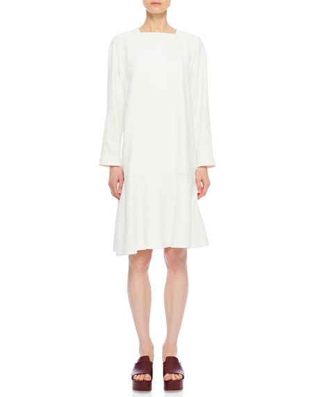 Tibi Chalky Drape Square-Neck Drop-Waist Dress