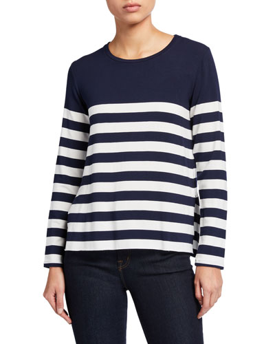 Striped Crewneck Long-Sleeve Sweatshirt