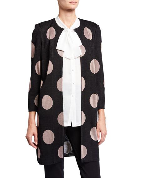 Misook Petite Dot Print Long Easy Jacket