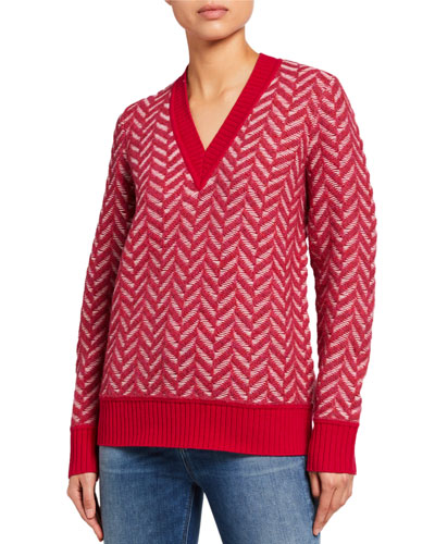 Biata Textured Knit V-Neck Sweater