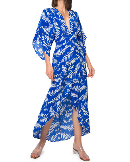Jaline Kelly Open-Back Wrap-Front Coverup Dress