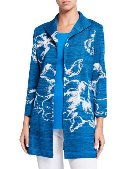 Misook Plus Size Long Floral Space Dye Jacket