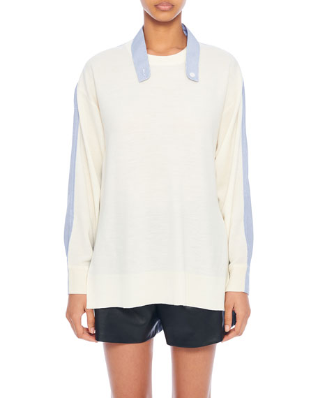 Tibi Wool Sweater with Shirt Trim