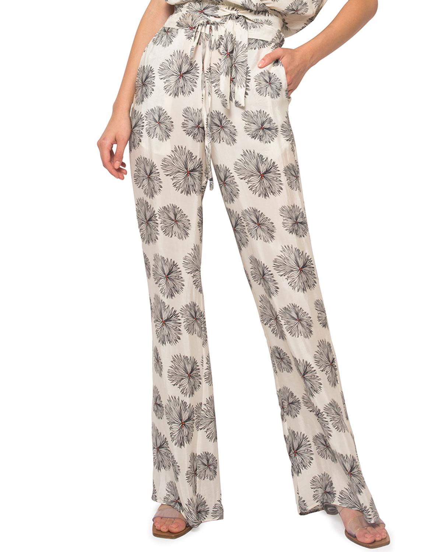 Jaline LISA SELF-TIE FLORAL LOUNGE PANTS
