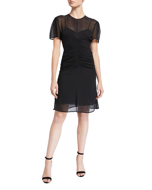 Rag & Bone Dresses MARIS RUCHED CHIFFON SHORT-SLEEVE MINI DRESS
