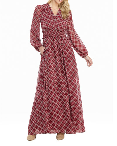 Tartan Plaid Printed Long-Sleeve Chiffon Maxi Dress