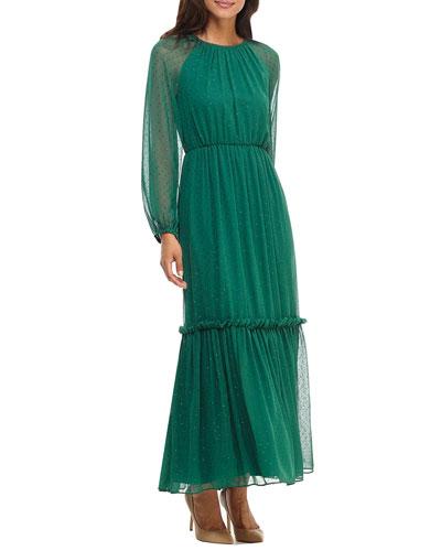 Jewel Clip Chiffon Tiered Maxi Dress