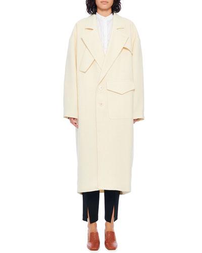 Basketweave Cocoon Shape Maxi Coat