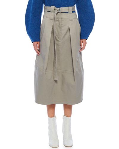 Myriam Twill Double-Waist Sculpted Skirt