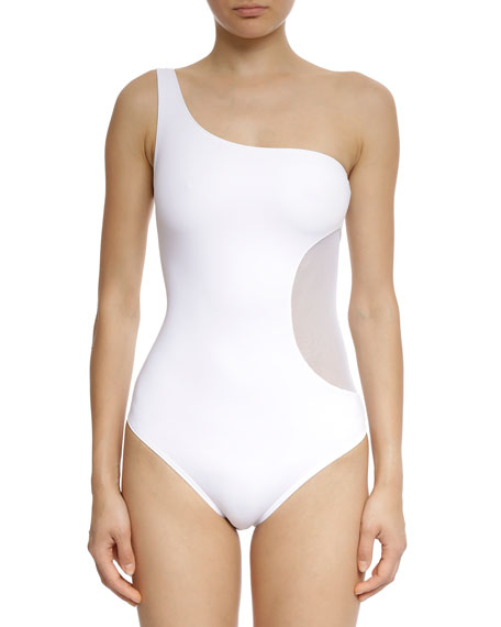 Balmain Side Patch One-Shoulder One-Piece Swimsuit
