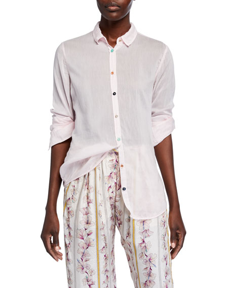 Forte Forte Cotton-Silk Voile Shirt with Jewel Buttons