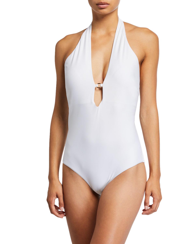 Laguna Plunging Halter One-Piece Swimsuit