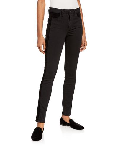 Hoxton Velvet-Trim Ultra Skinny Jeans