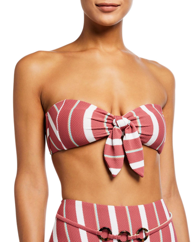 Sedona Striped Textured Bandeau Swim Top
