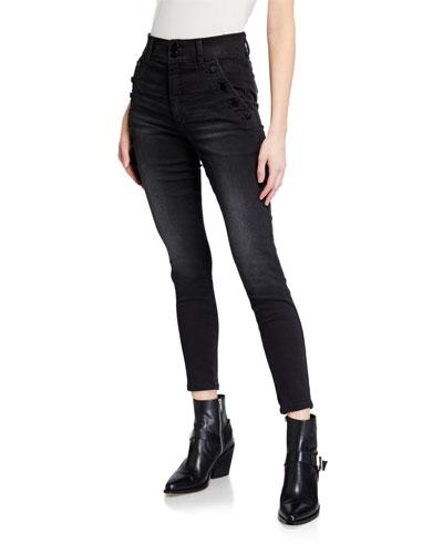 Black Ringed /& Studded Jeans Various Sizes