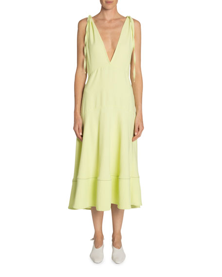 Proenza Schouler White Label Plunging Shoulder-Tie Sleeveless Midi Dress