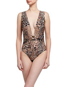 Letarte Wyoming Leopard Print Cutout Back One-Piece Swimsuit