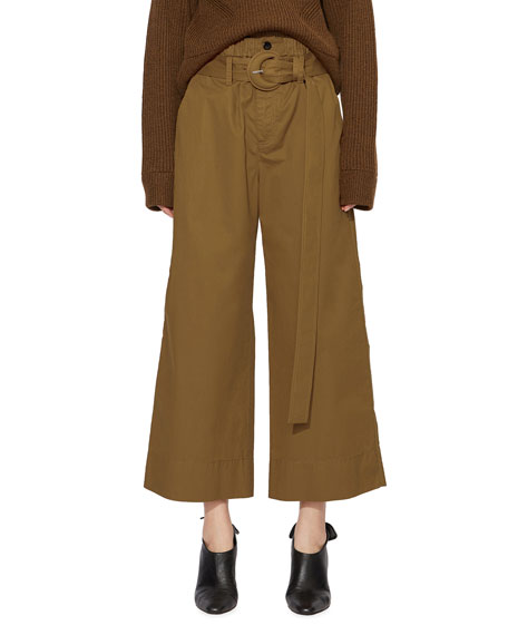 Proenza Schouler White Label Belted Drawstring Wide-Leg Ankle Pants