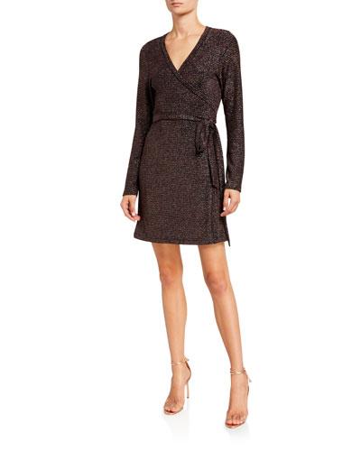 Lucielle Metallic Long-Sleeve Wrap Dress