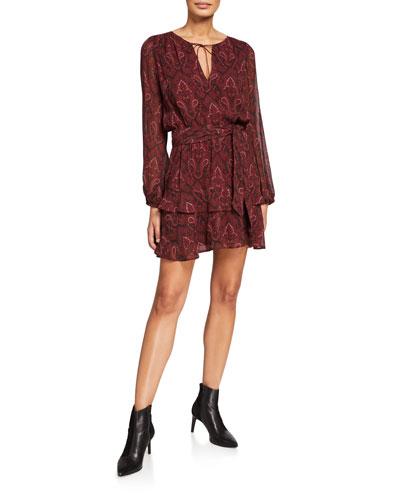 Doah Paisley-Print Long-Sleeve Dress