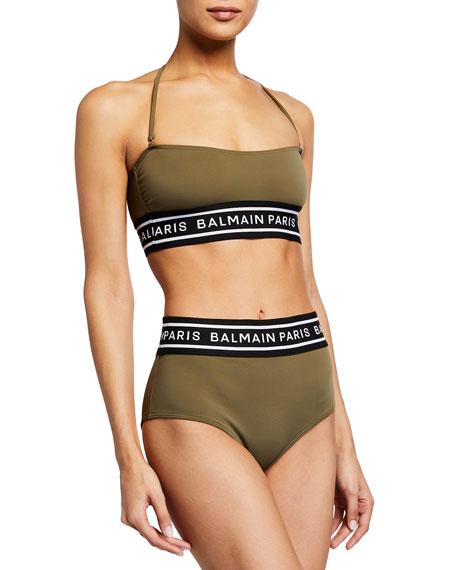 Balmain Logo Taped Bandeau Bikini Swim Set