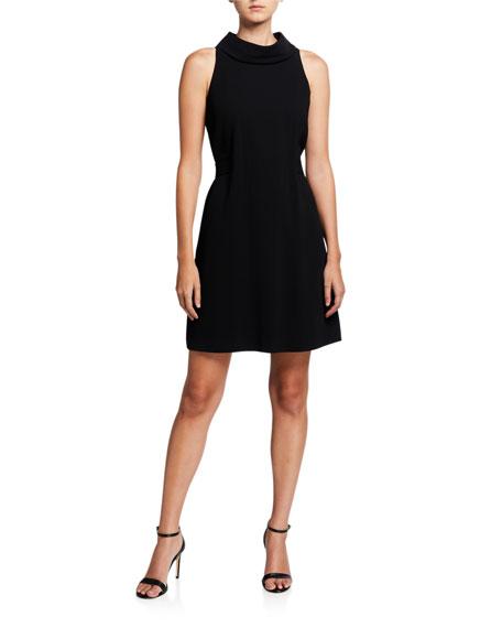 Trina Turk Carmel Crepe Mock-Neck Sleeveless Shift Dress