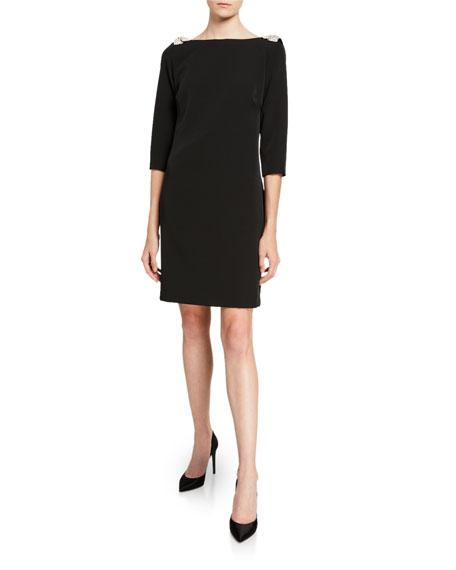Trina Turk Smoothie Embellished Shoulder 3/4-Sleeve Shift Dress