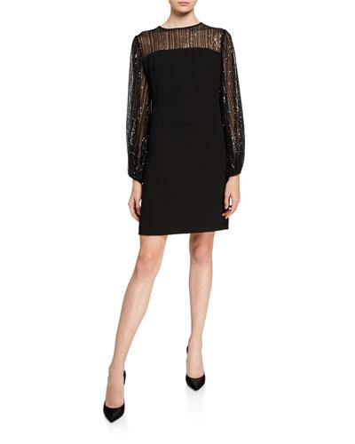 Long-Sleeve Crepe Shift Dress w/ Sheer Sequin Yoke