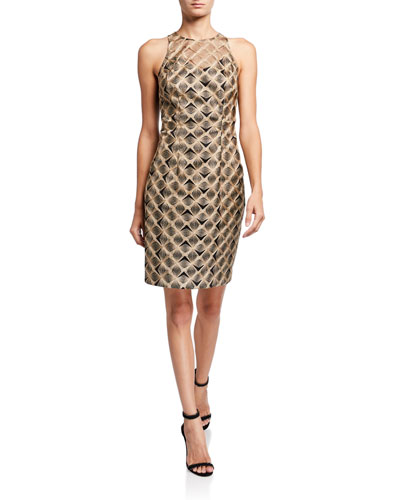 Metallic Origami Embroidered Sleeveless Sheath Dress