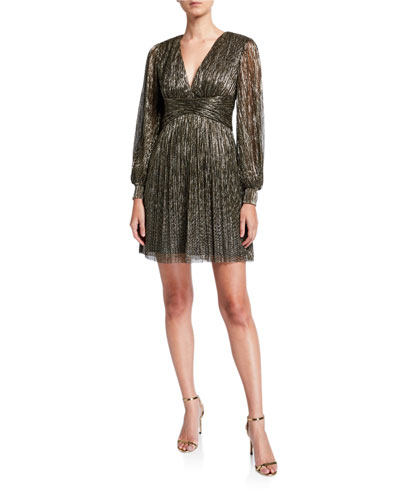 Crinkle Metallic V-Neck Bishop-Sleeve Empire Waist Dress