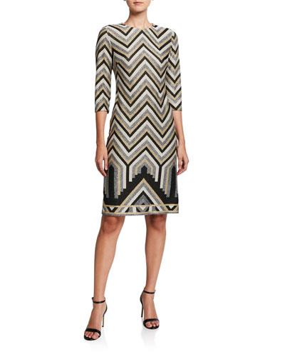 Imperial Metallic Chevron Jacquard Sheath Dress