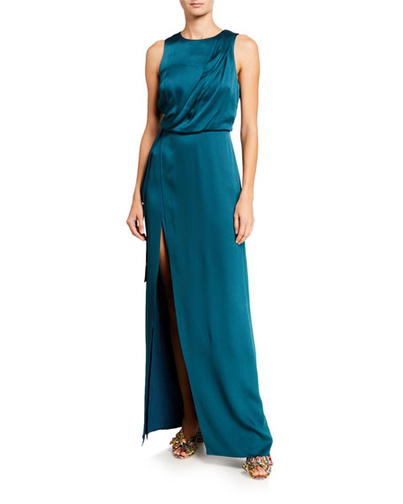 Halston Draped Satin Column Gown