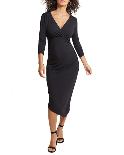 Maternity Solid 3/4-Sleeve Asymmetric Hem Dress