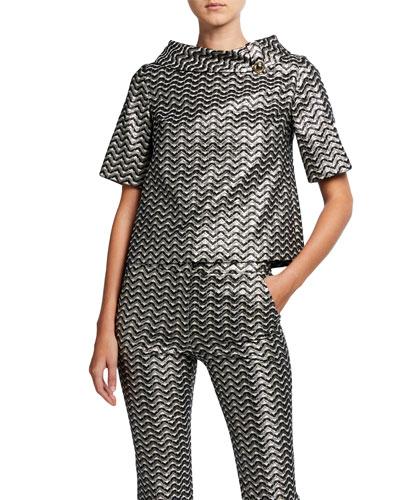 Saya Metallic Wave Striped Collared Short-Sleeve Top