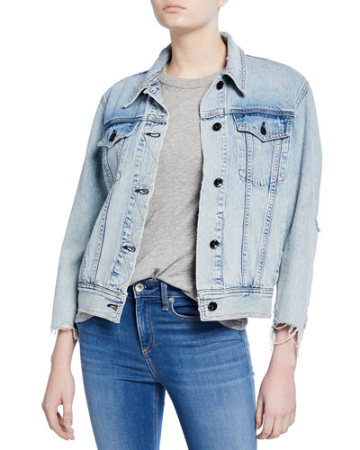 Oversized Distressed Denim Jacket