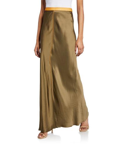 Satin Maxi Slip Skirt